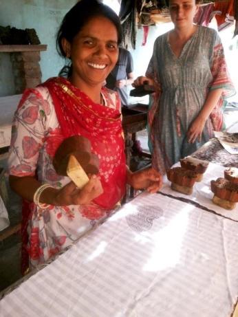 nandu printing artist with TAFE fashion student, Jess Wilmot