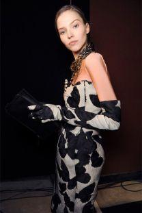 Sasha Luss in Lanvin Opera Gloves. Backstage at Lanvin Paris, 02.26